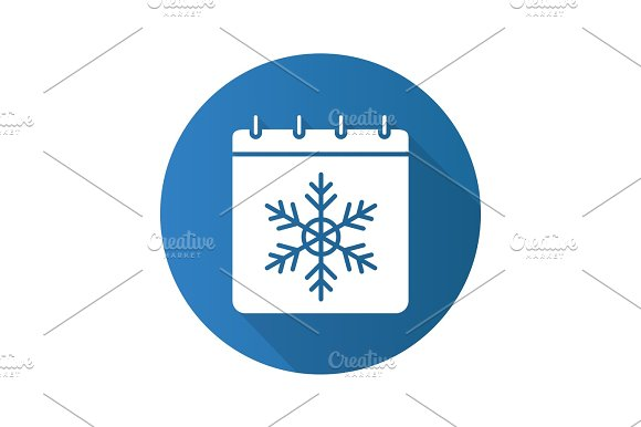 Winter Season Flat Design Long Shadow Glyph Icon