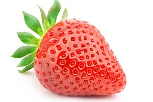 Strawberry with leaves isolated