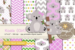 Koala Girl Digital Papers & Clipart