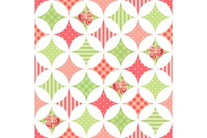 Cute seamless vintage pattern as patchwork in shabby chic style ideal for kitchen textile or bed linen fabrics
