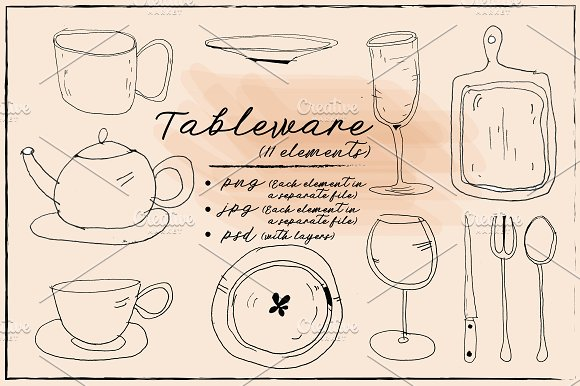 dishes, tableware hand drawn