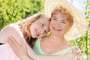 Grandmother and granddaughter happy portrait