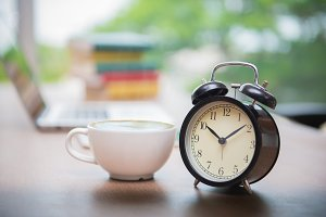 Retro alarm clock with coffee