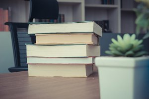 Pack of Book stack on table