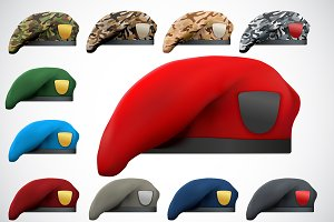 Set of Military Berets Army Forces