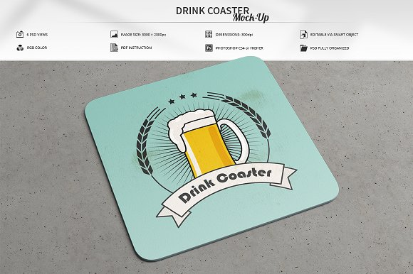 Free coaster mockup psd for Coaster size template