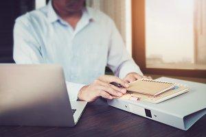 businessman hand working laptop