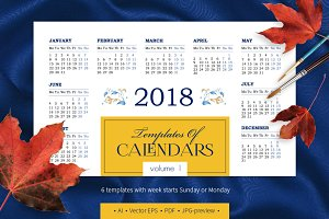 2018. Templates of Calendars. Vol. 1