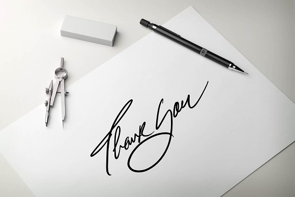 THANK YOU Script Hand Lettering Word