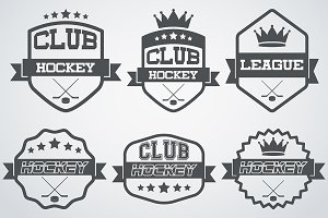 Set of Ice Hockey Club Labels