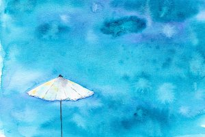 Sea view with umbrella, watercolor