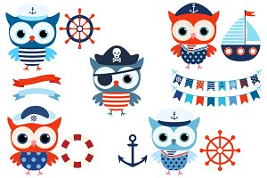 Nautical sailor owl clip art set