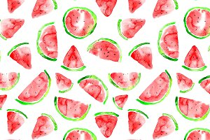 Watercolor watermelons pattern