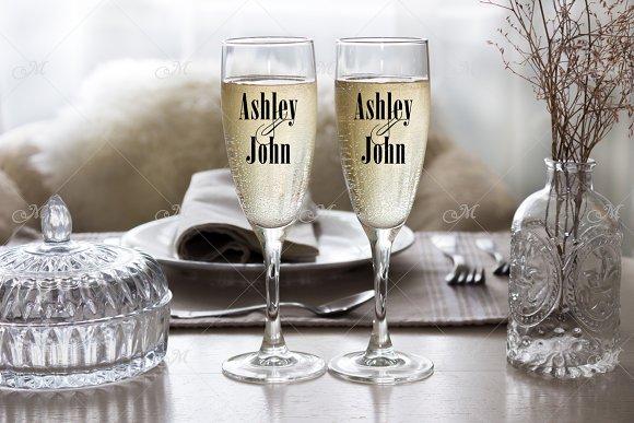 Champagne Flutes Mockup Stock Photo