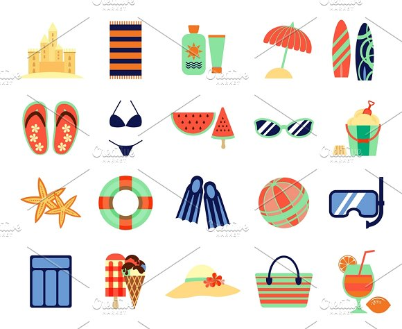 Beach Summer Vacation Flat Icons