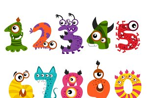 Funny cute monster numbers