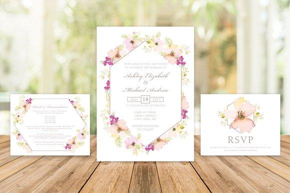 Pink Gold Floral Wedding Invite