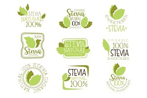 Stevia Natural Food Sweetener Additive And Sugar Substitute Set Of Green Color Logo Design Templates With Plant Leaves