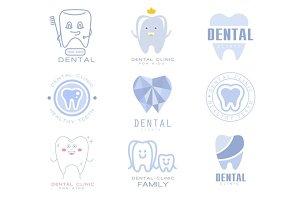 Kids Dental Clinic And Dentist Cabinet Set Of Label Templates In Different Creative Styles And Light Blue Shades