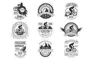Custom Made Free Ride Bike Shop Black And White Sign Design Templates With Text And Tools Silhouettes