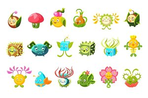 Childish Alien Fantastic Alive Plants Emoji Characters Collection Of Vector Fantasy Vegetation