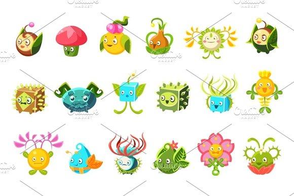 Childish Alien Fantastic Alive Plants Emoji Characters Collection Of Vector Fantasy Vegetation in Illustrations