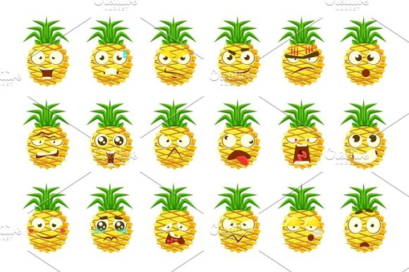 Pineapple Cartoon Emoji Portaraits Fith Different Emotional Facial Expressiona Set Of Cartoon Stickers