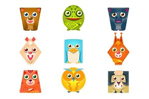 Geometric Shape Flat Cartoon Animals Set Of Colorful Cartoon Isolated Vector Stickers