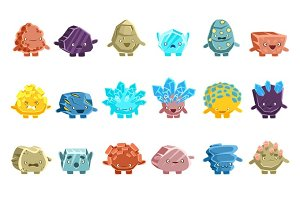 Alien Fantastic Golem Characters Of Different Humanized Rocks With Friendly Faces Emoji Stickers Set