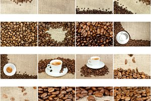 Cup of coffee, coffee beans, burlap