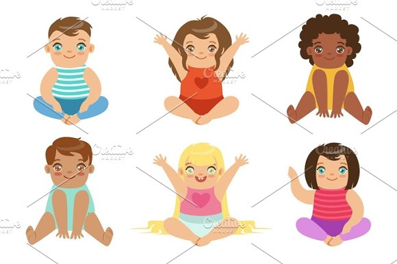 Adorable Big-Eyed Babies Sitting And Smiling Set Of Cartoon Happy Infant Characters