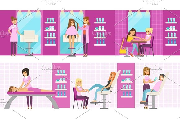 Women In Beauty Salon Enjoying Hair And Skincare Treatments And Cosmetic Procedures With Professional Cosmetologists