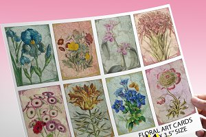 Floral Art Journal Cards - ATC ACEO