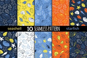 10 seamless patterns with seashells