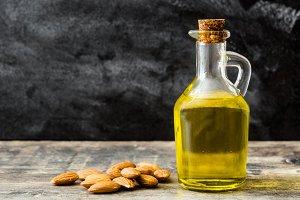 Almond oil in bottle