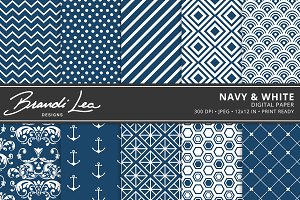 Navy & White Digital Paper