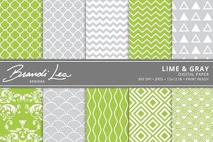 Lime & Gray Digital Paper