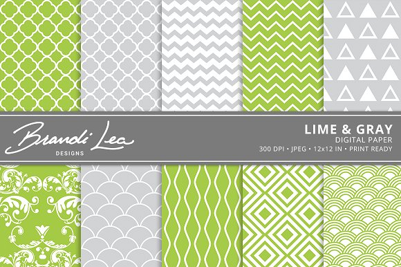 Lime & Gray Digital Paper in Patterns