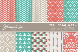 Coral, Teal, & Tan Digital Paper
