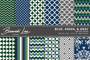 Blue Gray Green Digital Paper