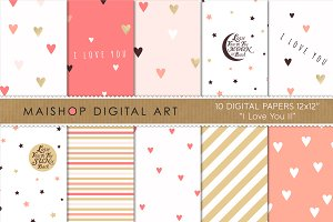 Digital Paper - I Love You II