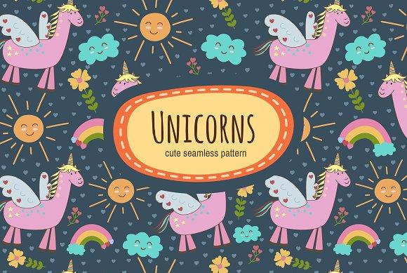 Cute Unicorns Seamless Patterns
