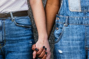 Close up of hands of diverse races.