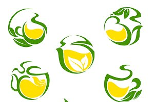 Green or herbal tea with lemon icons
