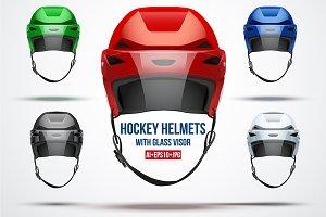 Set of 5 Classic Ice Hockey helmets