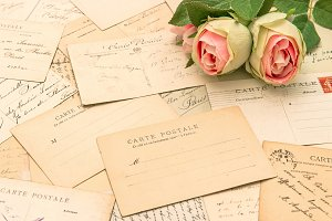 French Postcards and Rose Flowers