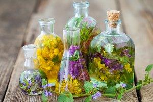 Infusion bottles. Herbal medicine.