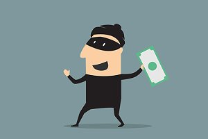 Masked thief  man with money