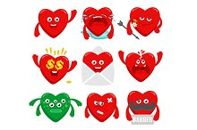 Set of funny heart characters.