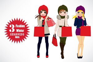 Winter Women Shopping